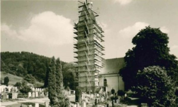 The first scaffold project: Church tower in Stammheim TG, Switzerland