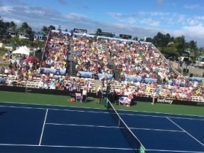 Grandstand with 1,700 Seats in Hawaii for the FED Cup Tennis Match between the USA and Poland