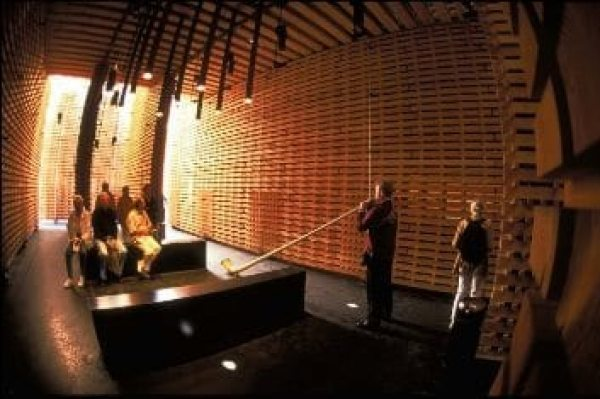 "At the World Expo in Hanover, 40,000 beams of Swiss Douglas fir and larch were fitted together to form a wooden structure, creating the ""Swiss Sound Box"" by the Swiss architect Peter Zumthor."
