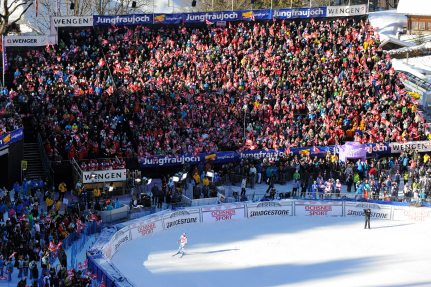 At the Finish Line, Close to the Action - Standing Room for 1,500 Ski Fans