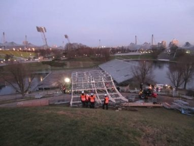 NUSSLI Erects the Most Imposing Track in the History of the Red Bull Crashed Ice in Olympiapark.