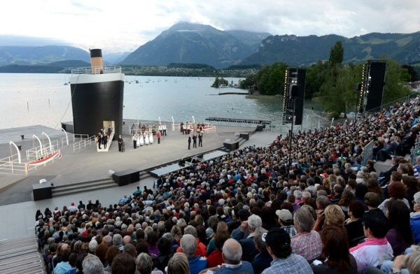 "Since its inception, NUSSLI has built the stage, grandstand, sponsor platforms and management section with a VIP platform for the Thunerseespiele every single year. Shown here is the 2012 performance of ""Titanic the Musical."""
