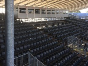 2,000 roofed VIP seats and commentator boxes for the media.