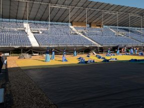 Pictures of the rehearsals in front of the empty grandstand. From August 15, the grandstand will be full with spectators