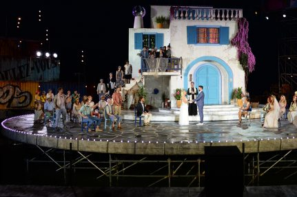 The stage of the Thunerseespiele in the evening
