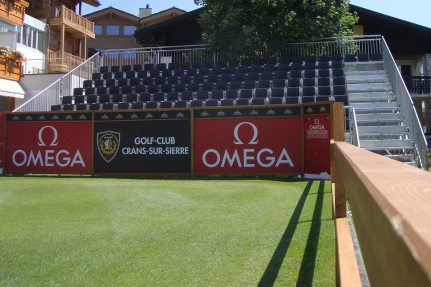 At the international Omega European Masters golf tournament, NÜSSLI built multiple grandstands for a total of 1,800 fans