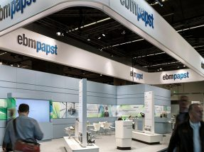 Picture: The modular exhibition stand kit specially developed for ebm-papst was also used at this year's IAA.