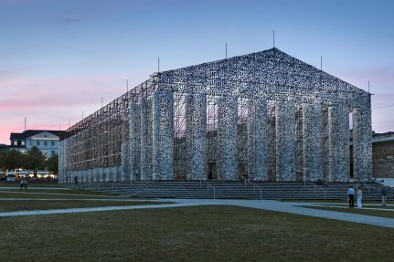 "For this art exhibition, NUSSLI constructed a giant framework to serve as the basic structure for ""The Parthenon of Book"