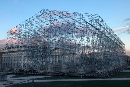 "Image: In preparation for the documenta 14, NUSSLI built the scaffolding for ""The Parthenon of Books""."