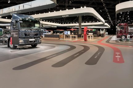 The MAN Truck & Bus exhibition stand at the IAA Commercial Vehicles 2018 International Motor Show in Hanover