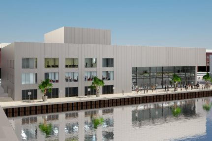 Rendering of the new event hall «Hafen 1»