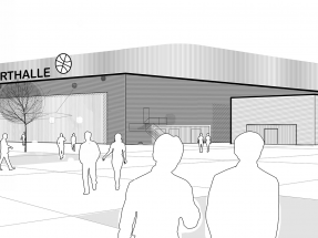 Sports and Events Hall at Tillypark. Visualization of the hall, exterior view