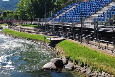 Athletes compete at the Canoe Slalom World Championships in Spain for the world cup title