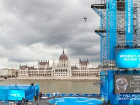 Picture: For the FINA World Championships 2017 in Budapest, NUSSLI constructed the high diving tower on the Batthyány Sq