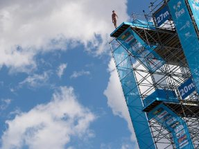 "Image: The high diving tower at the 17th FINA World Championships was recognized as the ""Sports Venue of the Year 2017"""