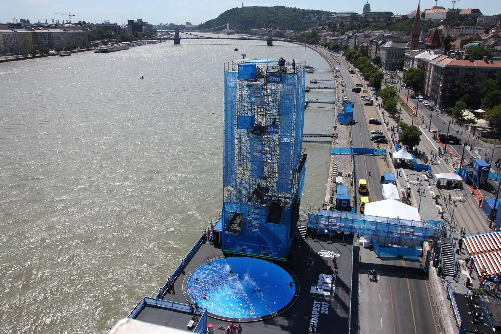 An international sports award for the high diving tower for Tallest swimming pool in the world