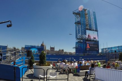 High Diving Tower for the High Diving World Championships on Batthyány Square in Budapest