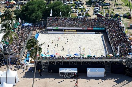 NUSSLI created a beach soccer arena with space for 2000 spectators and other event structures