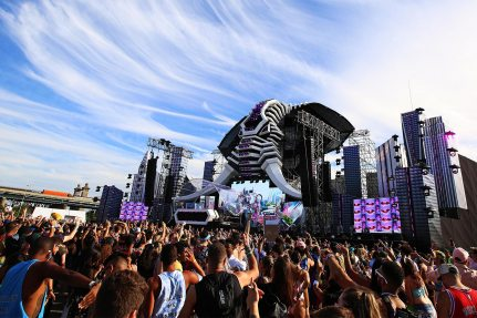 Picture: A gigantic, 21-meter high elephant head dominated the main stage of the Electric Zoo Festival 2017.